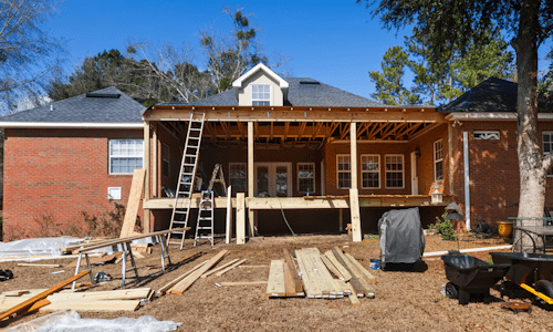 Room addition constructed in back of home