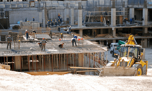 General Contractor construction site with Subcontractors working